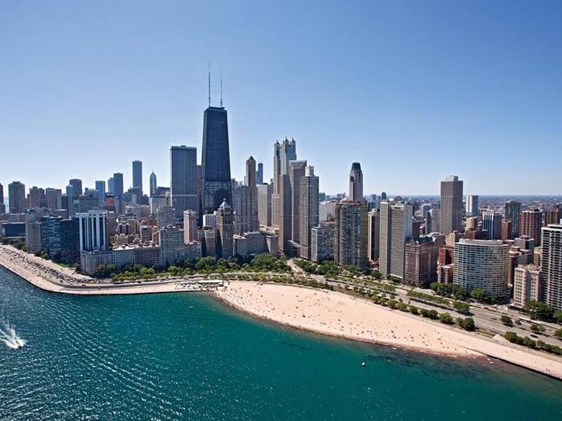 Oak Street Beach no Lake Michigan de Chicago