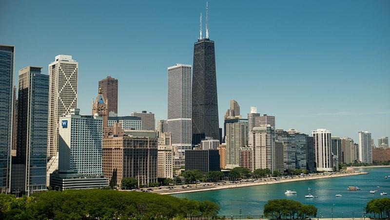 Ohio Street Beach no Lake Michigan de Chicago