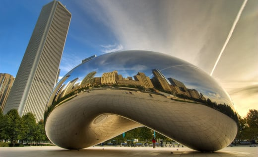 Millennium Park, Crown Fountain e Cloud Gate na primavera em Chicago