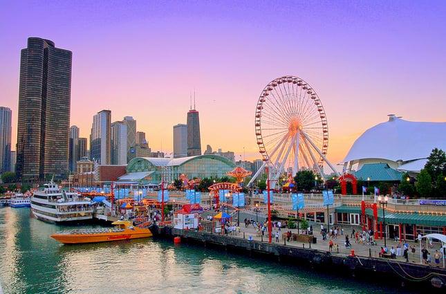 Navy Pier na primavera em Chicago