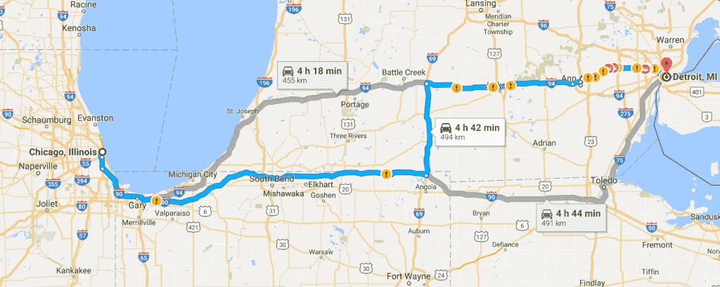 Roteiros e informações da viagem de carro entre Chicago e Detroit