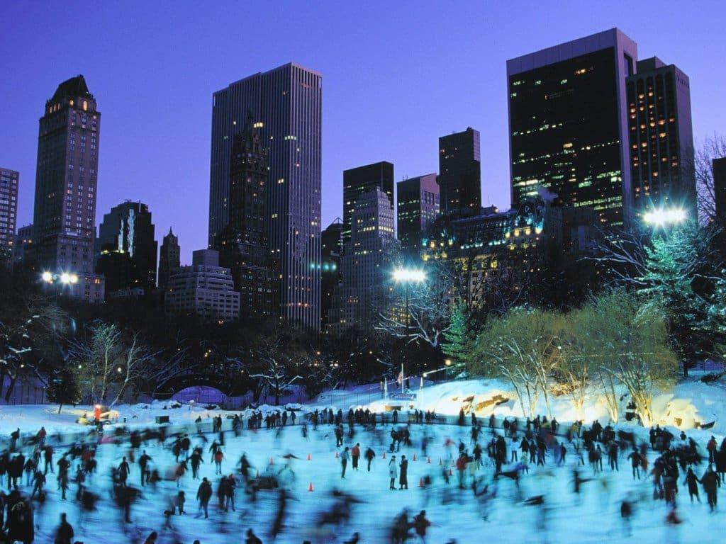 Pista de esqui no Central Park
