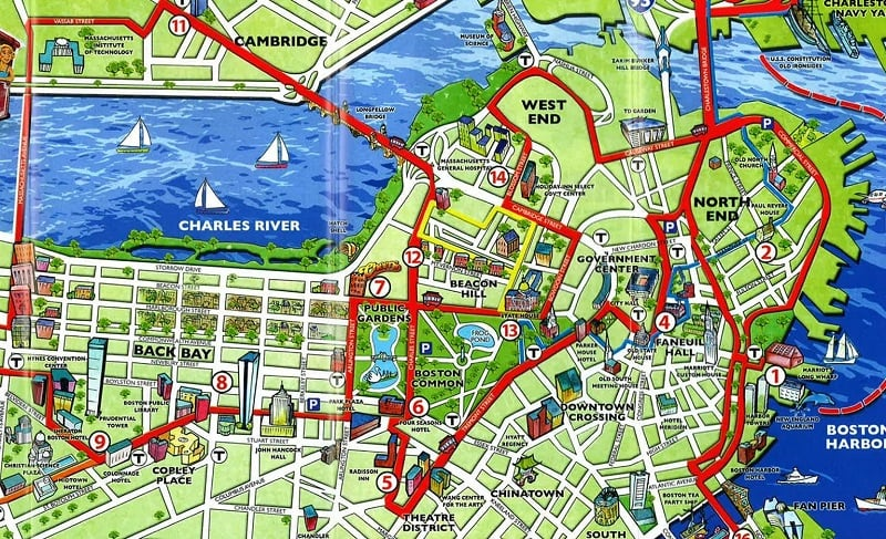 Mapa turístico de Boston