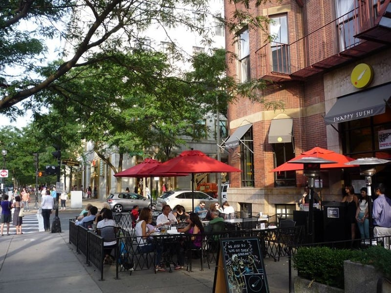 Gastronomia das Ruas Newbury e Boylston em Boston