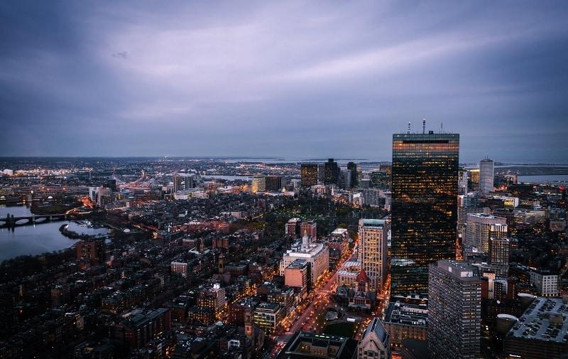 Vista da cidade de Boston