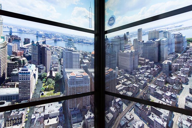 Elevador Sky Pod no Observatório One World em Nova York