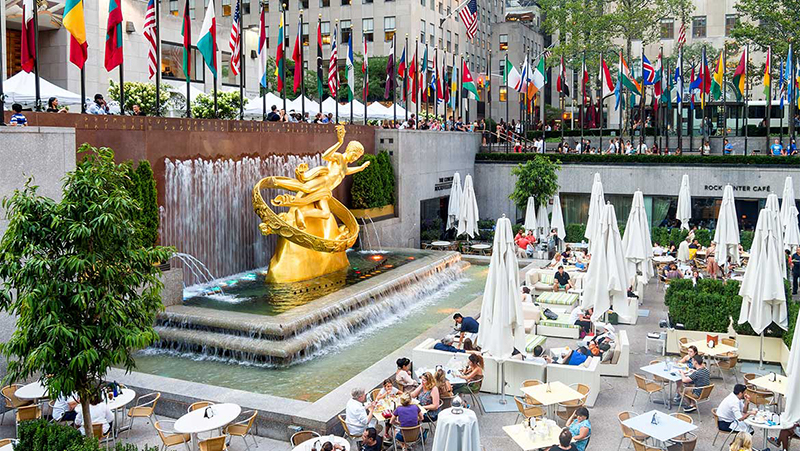 Gastronomia no Rockefeller Center em Nova York