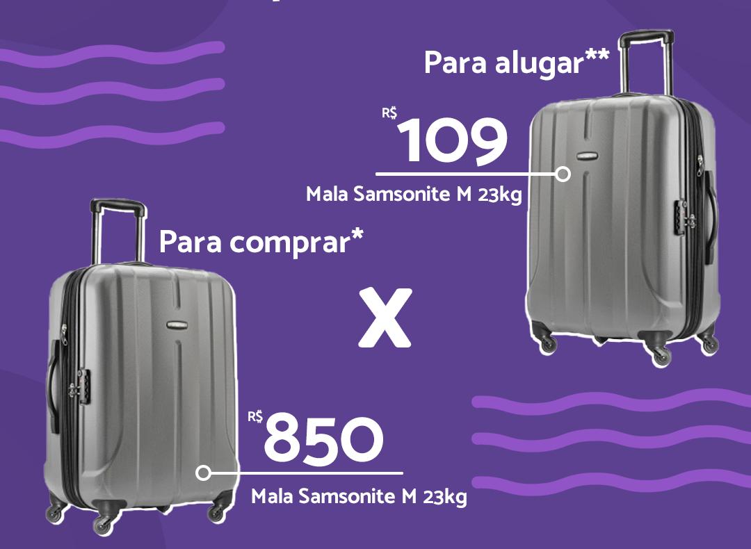 Comparação comprar X alugar malas de viagem